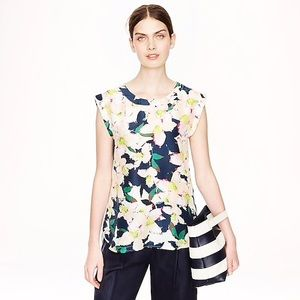 J. Crew 100% Silk Sleeveless Cove Floral Top